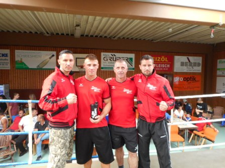 Von Li. n.re Kalauz Laszlo,Patric Hill, Trainer Thomas Hill, Trainer Sebastian Heinrich